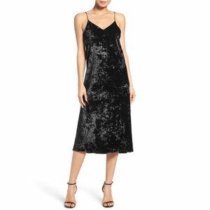 NSR Velvet Midi Slip Dress